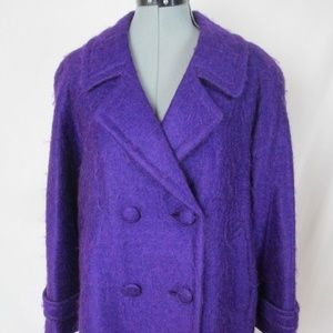 Peacoat Purple Fuzzy Double Breasted Large